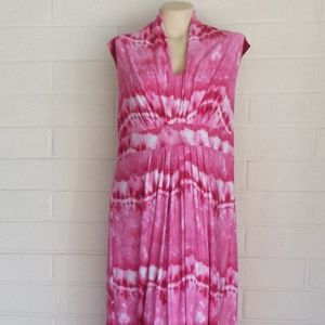 CHICO'S 3 L pink white tie-dye hi-waist maxi dress
